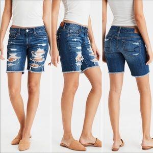 AEO Tomgirl Ripped Bermuda Jean Shorts